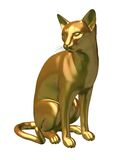 Golden Siamese Cat statue sitting. Digital render of a statue of a gold siamese cat sitting looking to its right