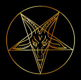 Golden sigil of Baphomet Royalty Free Stock Image