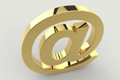 A golden at sign. 3d illustration Royalty Free Stock Photos