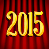 Golden 2015 sign on curtains. Golden 2015 sign with shadow on curtains stock illustration