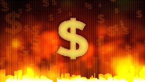 Golden sign of dollar currency against fiery background, money rules the world. Stock footage Stock Photo