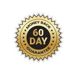 Golden Sign Money Back In 60 Days With Guarantee Template Sticker Isolated. Vector Illustration Royalty Free Stock Images