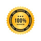 Golden sign 100 percent satisfaction guarantee. Flat vector illustration EPS 10.  Royalty Free Stock Photography