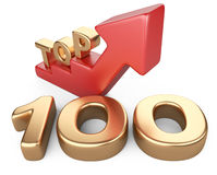 Golden sign top 100 and a red ladder. Stock Photos