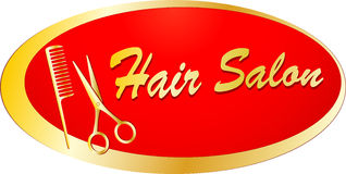 Golden signboard for barbershop Stock Image
