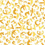 Golden signs of world currencies on white background seamless pattern Stock Photo