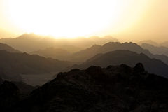 Golden silhouetted sunset in Sinai Royalty Free Stock Photography