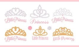 A set of small diadems. Vector design element for royal party  baby, bridal shower; wedding: birthday Princess gold crown with g Stock Photo