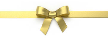 Golden silk bow Royalty Free Stock Image