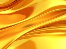 Golden silk cloth glossy waves luxury background Stock Photo