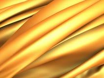 Golden silk cloth glossy waves luxury background Stock Photos
