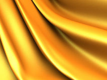 Golden silk cloth glossy waves luxury background Royalty Free Stock Photo