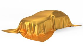 Golden silk covered car concept. 3d illustration. Suitable for any smart car,auto pilot or electric car concept Stock Photography