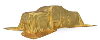 Golden silk covered Pickup truck concept. 3d illustration. Suitable for any smart car,auto pilot or electric car concept royalty free illustration