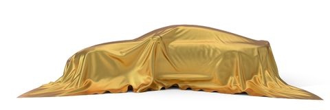 Golden silk covered sport car concept. 3d illustration. Suitable for any smart car,auto pilot or electric car concept royalty free illustration