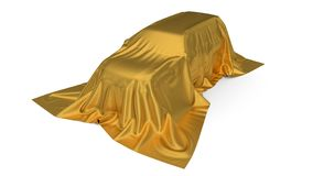 Golden silk covered SUV car concept. 3d illustration. Suitable for any smart car,auto pilot or electric car concept vector illustration
