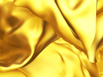 Golden silk fabric chaotic wind waves background Stock Photography