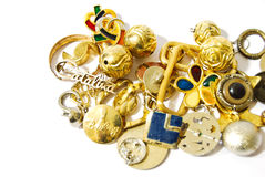 Golden silver accessories and jewelry Stock Photo