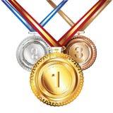 Golden, Silver And Bronze Medal Stock Photos