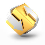 Golden And Silver Arrows Business Concept Icon. 3d Render Illustration Royalty Free Stock Image