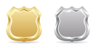 Golden and silver badges Royalty Free Stock Photos