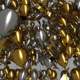Golden and Silver Balloons Stock Photo