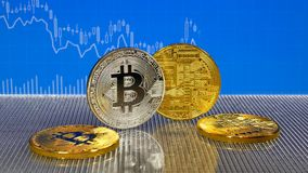 Golden and silver bitcoin on blue abstract finance background. Bitcoin cryptocurrency. stock footage