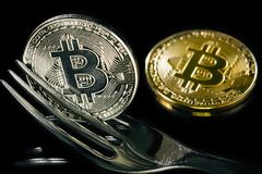 Golden and silver bitcoins with fork. Hard fork change concept. Currency of the future Royalty Free Stock Image