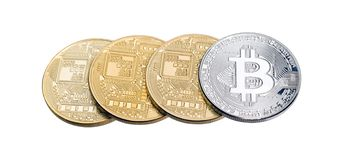 Golden and silver bitcoins isolated on white. stock photography