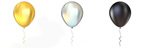 Golden, silver and black  balloons with ribbon. 3D Stock Photo