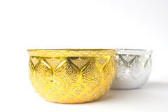 Golden and silver bowl isolated on white background Royalty Free Stock Photos