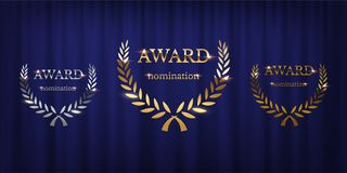 Golden, silver and bronze award signs with laurel wreath isolated on blue curtain background. Vector award design stock illustration