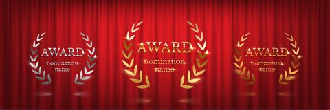 Golden, silver and bronze award signs with laurel wreath isolated on red curtain background. Vector award design stock illustration