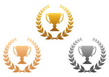 Golden, silver and bronze awards Royalty Free Stock Photography