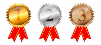 Golden, silver bronze awards. Vector illustration. Royalty Free Stock Images