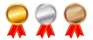 Golden, silver bronze awards. Vector illustration. Stock Photography
