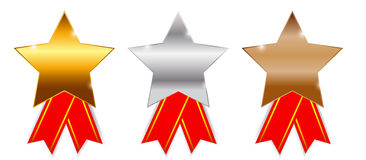 Golden, silver bronze awards. Vector illustration. Royalty Free Stock Photo