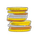 Golden, silver and bronze coins stacks isolated on a white background. Color line art. Retro design. Vector illustration Royalty Free Stock Photo
