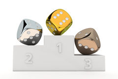 Gambling pedestal. Golden, silver and bronze dice on the winners pedestal Stock Images