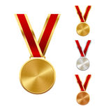 Golden Silver and Bronze Festive Winners Medals  on Whit Royalty Free Stock Image