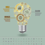 Golden silver and bronze gears in light bulb, vector designed template Stock Images