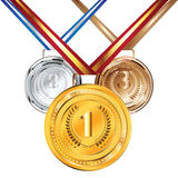 Golden, Silver and Bronze Medal. Set of golden, silver and bronze medals Royalty Free Stock Images