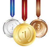 Golden, Silver and Bronze Medal. Set of golden, silver and bronze medals Royalty Free Stock Photo