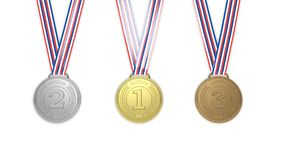 Golden,silver and bronze medals Stock Photos