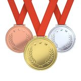 Golden, silver and bronze medals Royalty Free Stock Photo
