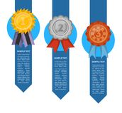 Golden, silver and bronze medals with ribbons. Championship awards ceremony banner, grand trophy vector illustration. Competition event, first, second and Stock Photos