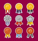 Medals collection with ribbons isolated set. Golden, silver and bronze medals with ribbons collection. First, second and third place award vector labels, victory Royalty Free Stock Photography