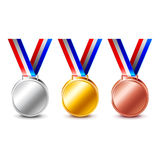 Golden silver and bronze medals  vector. Golden silver and bronze medals  on white photo-realistic vector illustration Royalty Free Stock Photos