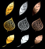 Golden, silver and bronze petals. Vector illustration of 9 petals Royalty Free Stock Image