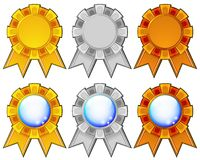 Golden, silver and bronze rosettes Royalty Free Stock Images